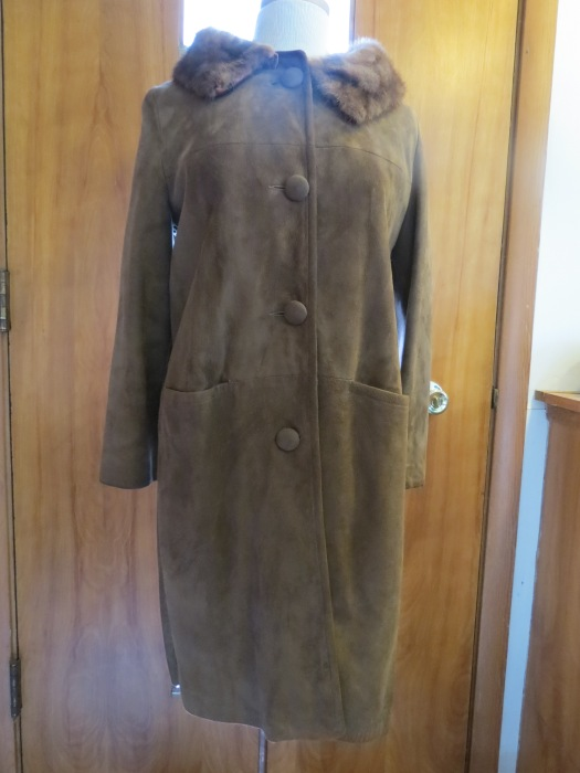 Iconic '50s/early '60s Suede #Coat w/Mink Trim