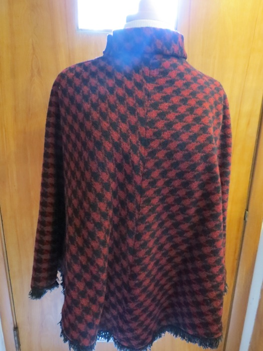 True Vintage 1960s Houndstooth Poncho with Fringe