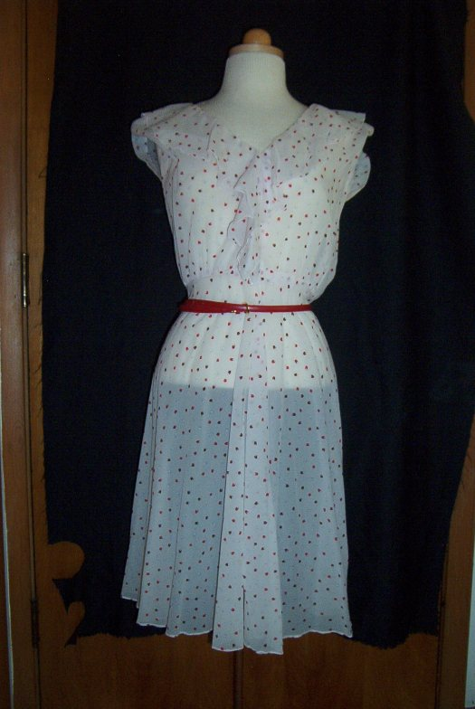 A TRUE VINTAGE SHEER DAY DRESS, PROBABLY 1950'S