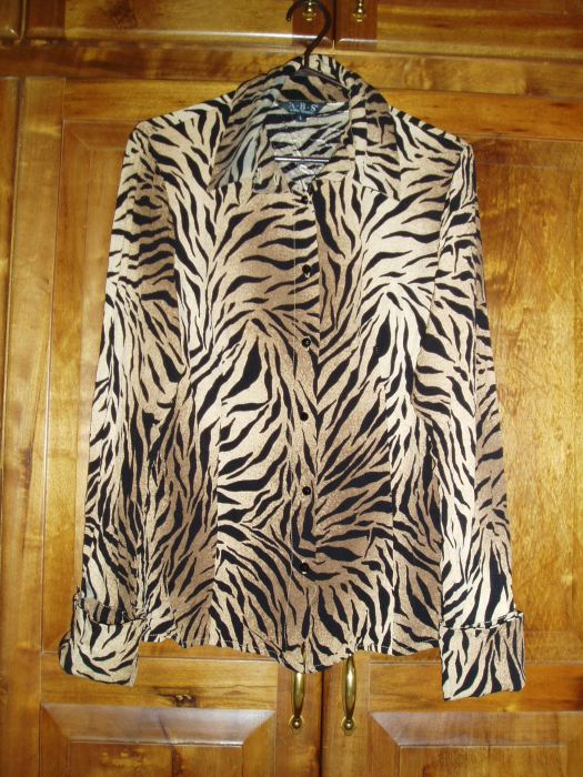 TRUE VINTAGE (?) 1980'S (?) TIGER PRINT SHIRT JACKET BY ABS