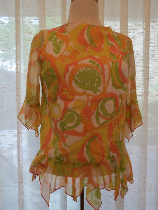 MOD, PSYCHEDELIC PRINT ON A TRUE VINTAGE 1960'S BLOUSE