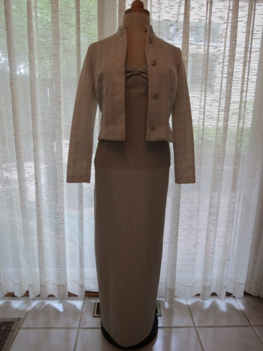 A LATE 1970'S POLY-KNIT GOWN AND JACKET ENSEMBLE FROM A MIAMI SPECIALTY BOUTIQUE