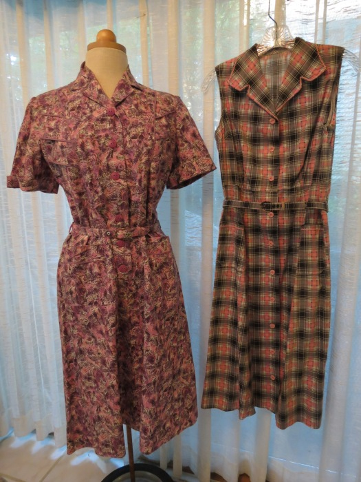 A COUPLE OF LATE '50'S - EARLY '60'S FUN SHIRTWAIST DRESSES IN LEAD-INTO-FALL COLORS