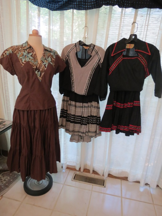 3 TRUE VINTAGE NATIVE AMERICAN/HAWAIIAN COSTUMES FROM THE 1940'S - 1950'S