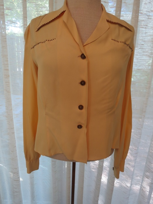 VERY SPECIAL TRUE VINTAGE 1940'S RAYON BLOUSE