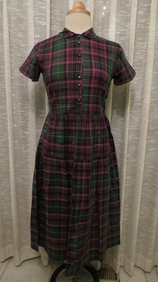 SWEET 1940'S - '50'S COTTON DAY DRESS - END OF SUMMER COLORS