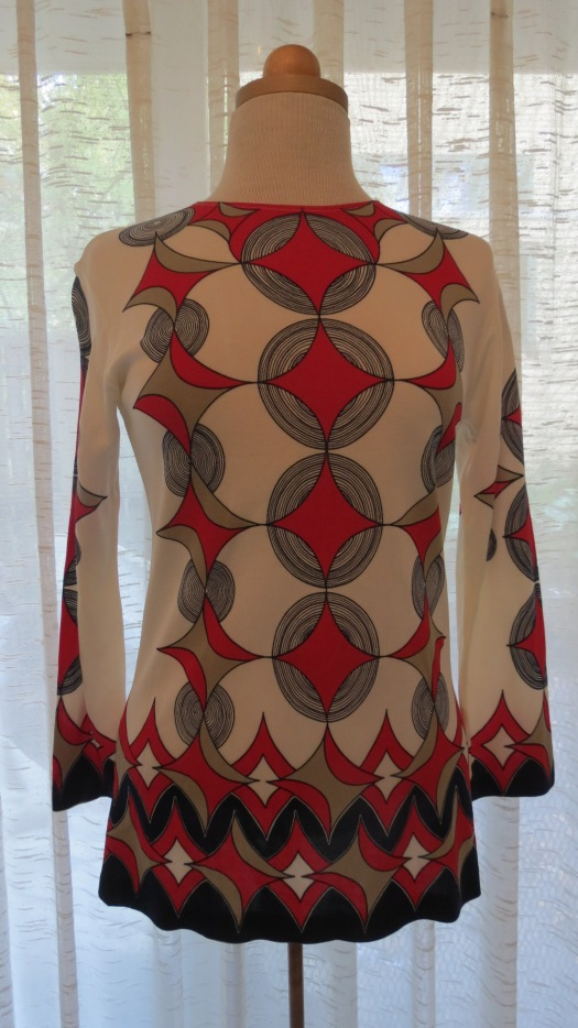 A FABULOUS FIND - MOD GEOMETRIC PRINT SIXTIES KNIT TUNIC