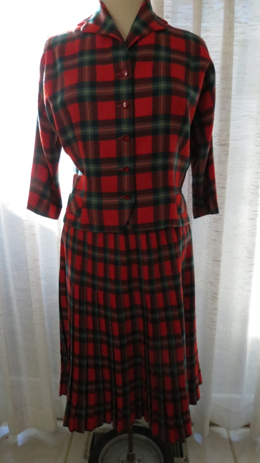 TARTAN WOOL 1950'S LADIES' JACKET AND SKIRT SUIT
