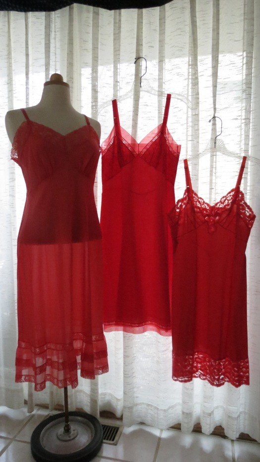 MORE RED!  VA-VA-VA-V00M TRUE VINTAGE 1950'S LINGERIE SLIPS