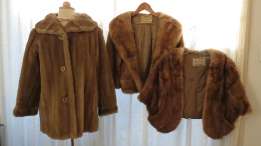 THREE BEAUTIFUL BLONDE TRUE VINTAGE 1950'S FURS - ONE IS AN IMPOSTER . . . . . . . . . . . .