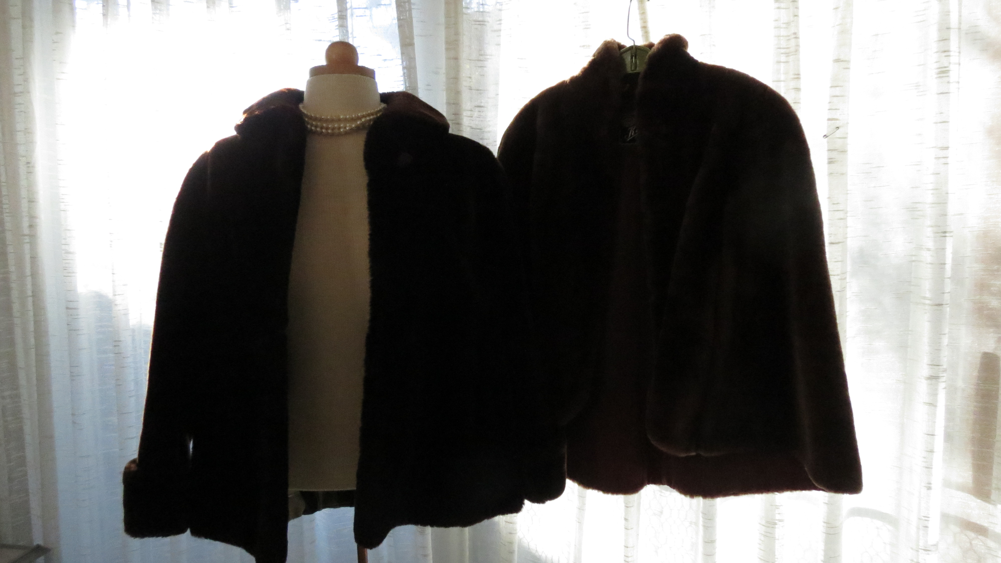 2 SABLE - COLOR FAUX FURS FROM THE 1950'S