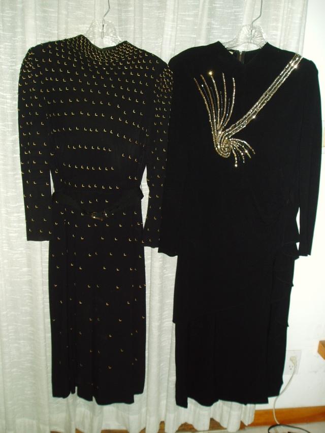 2 TRUE VINTAGE DRESSY FROCKS FROM THE FLIRTY THIRTIES