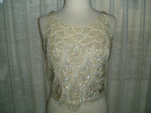 FOR WHITE NIGHTS - 1950'S BEADED EVENING SHELL BLOUSE