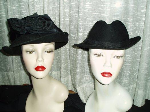 TRUE VINTAGE BLACK FELT BRIMMED LADIES' HATS