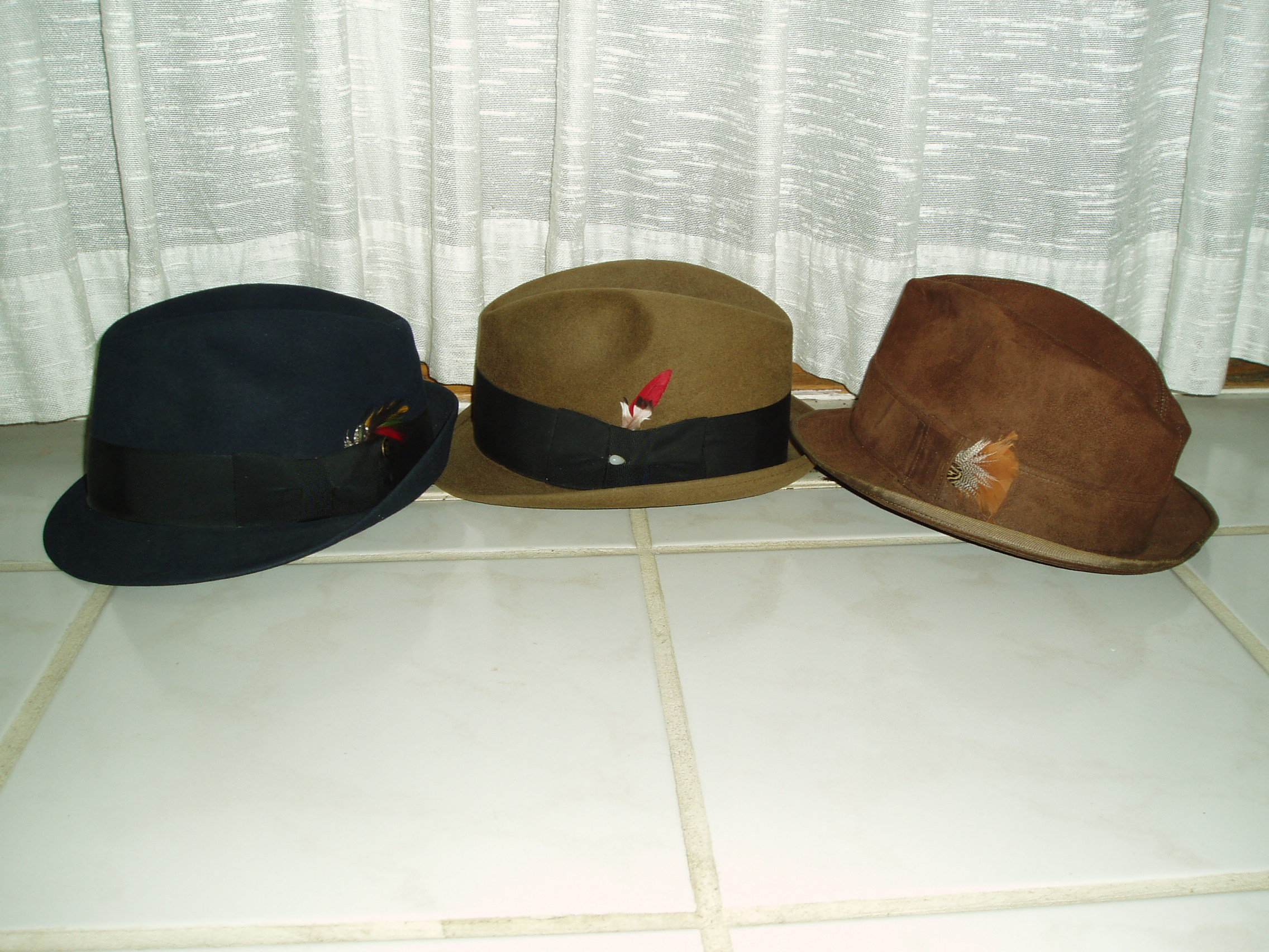 3 TRUE VINTAGE 1960's MEN'S HATS - STETSON, FELT OR LEATHER