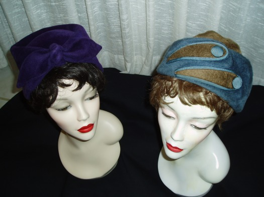 TWO FABULOUS  LADIES' HATS FOR WINTER - 1950'S TO 1960'S