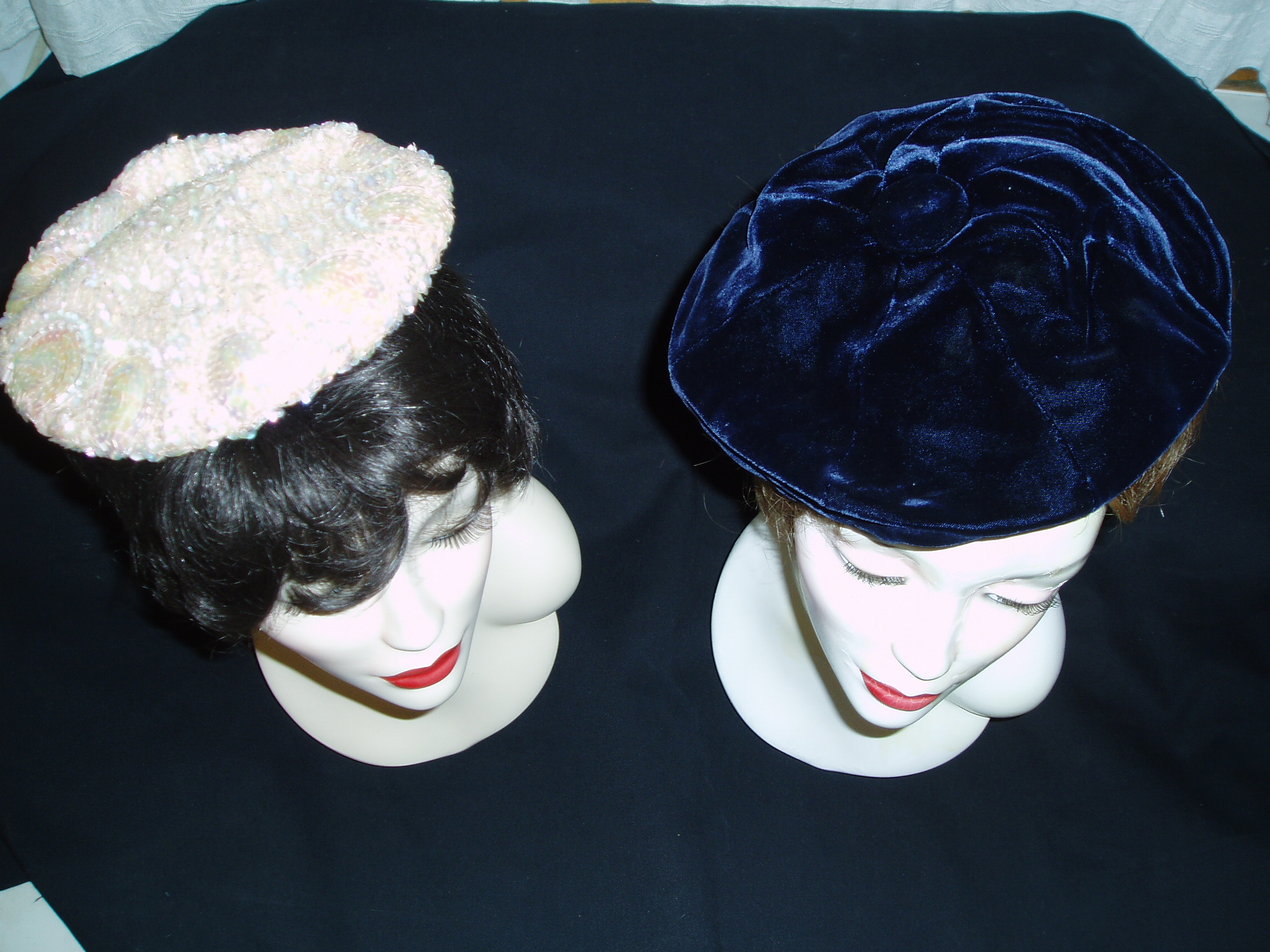TRUE VINTAGE EVENING BERETS - VELVET AND BEADS, STARS AND MIDNIGHT SKY