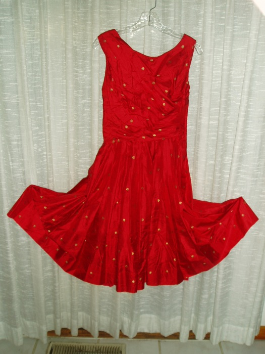TRUE VINTAGE LATE 50'S, EARLY '60'S CUSTOM-MADE SILK PARTY DRESS
