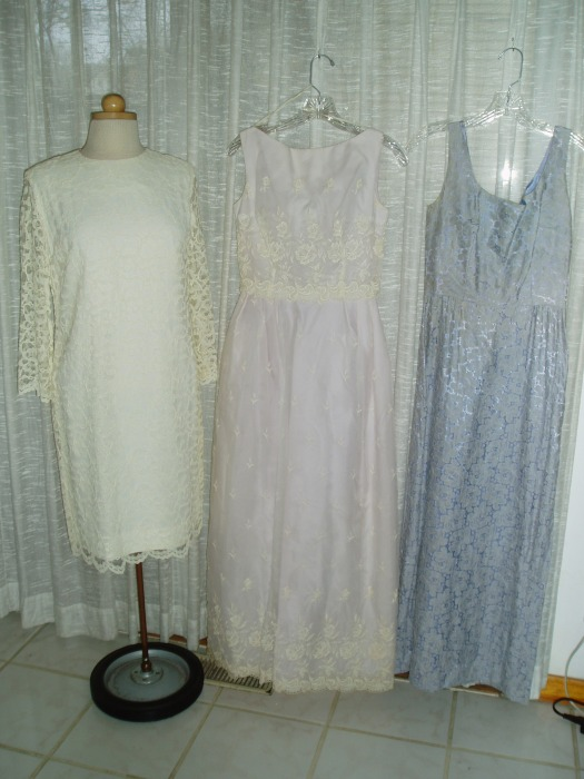 EARLY SIXTIES SPRING SEMI-FORMAL DRESSES IN PASTELS WITH LACE OVERLAY