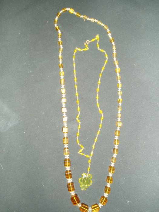 RARE GLASS BEAD NECKLACES FROM THE 1920'S