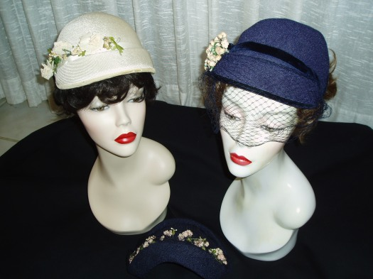 CONTINUING WITH THE HAPPY BLUES FOR THE NEXT 10 DAYS OR SO - PRETTY TRUE VINTAGE NAVY AND WHITE SPRING STRAW HATS WITH FLOWERS