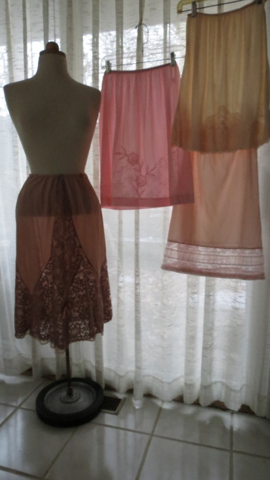 PRETTY 1950'S NYLON HALF-SLIPS IN PINKS AND BEIGES