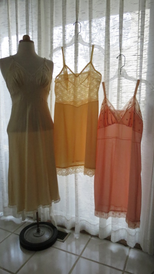 TRUE VINTAGE 1950'S SUMMER SLIPS IN LEMON & TANGERINE
