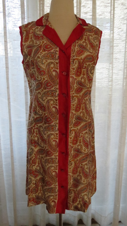 UNUSUAL TRUE VINTAGE 1960'S SILK BUTTON-FRONT FROCK