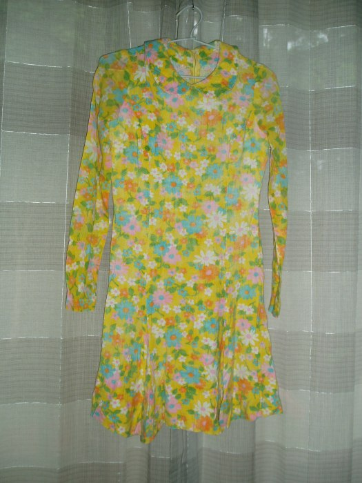 TRUE VINTAGE MOD FLOWER-POWER LATE 1960'S MINI-DRESS