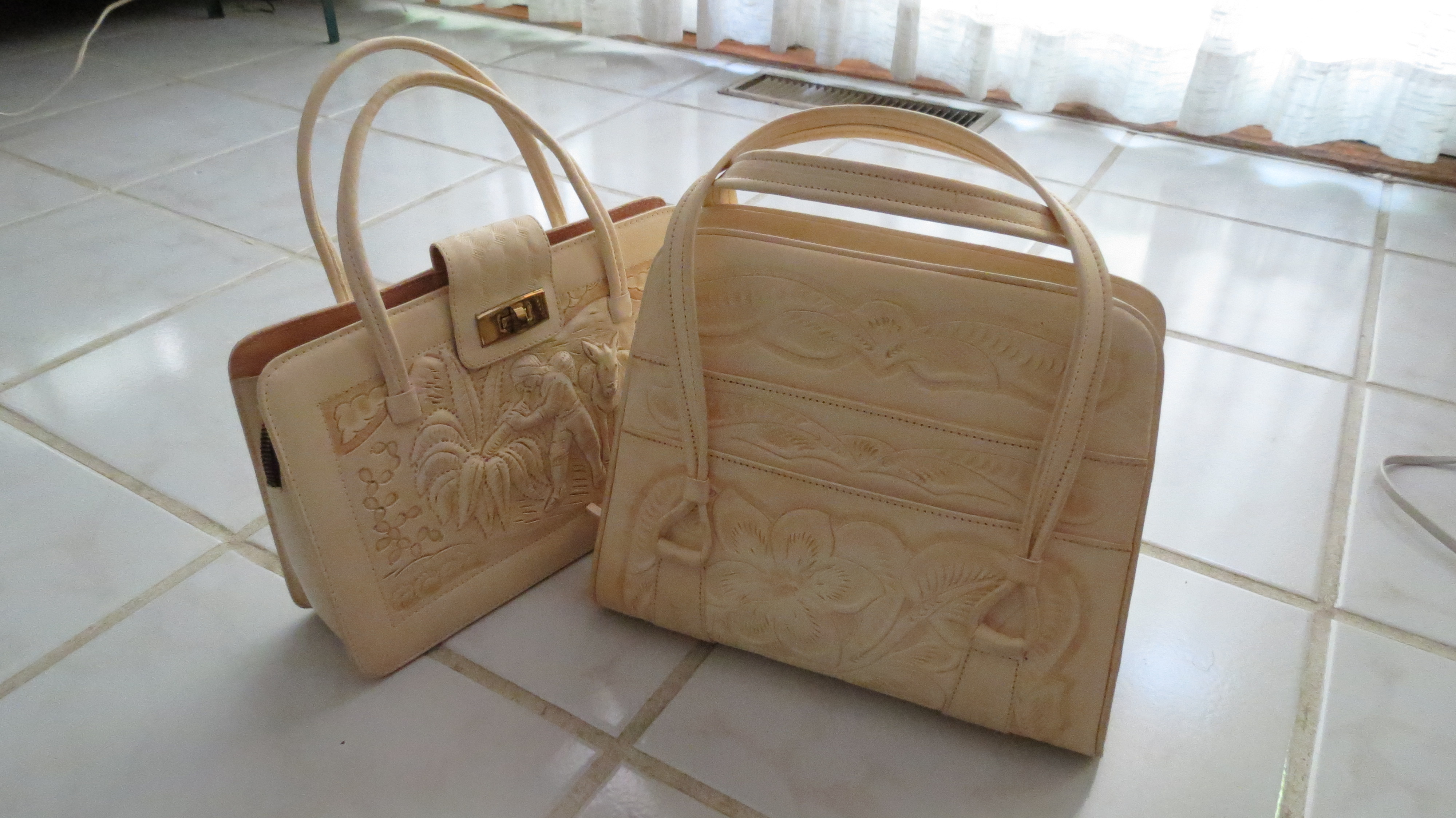 BEAUTIFULLY TOOLED LEATHER BAGS FROM MEXICO - CIRCA 1960'S - 1980'S