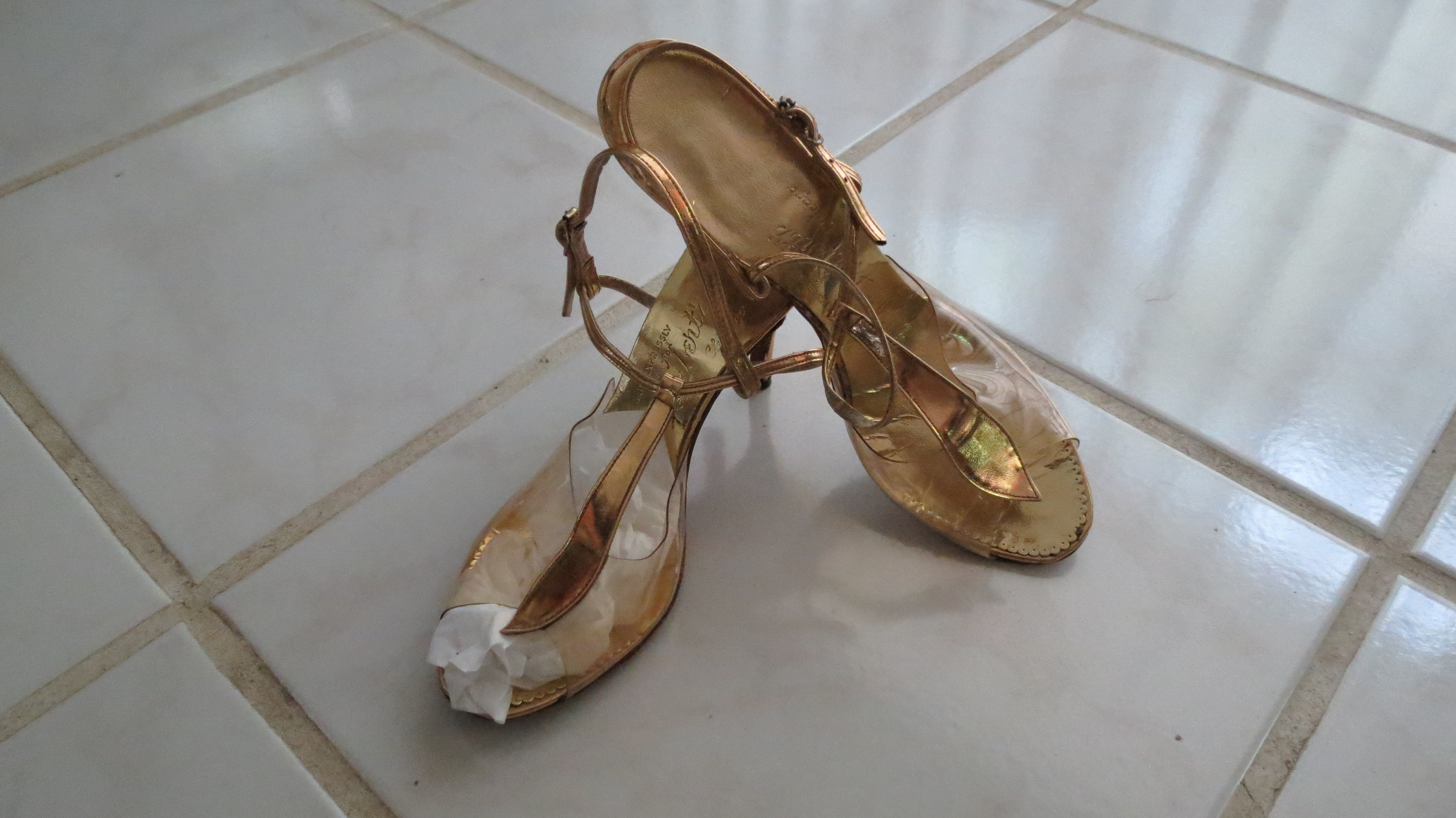 TRUE VINTAGE 1950'S PEEP-TOE GOLD LEATHER & CLEAR VINYL EVENING SANDALS FROM A SPECIALTY STORE