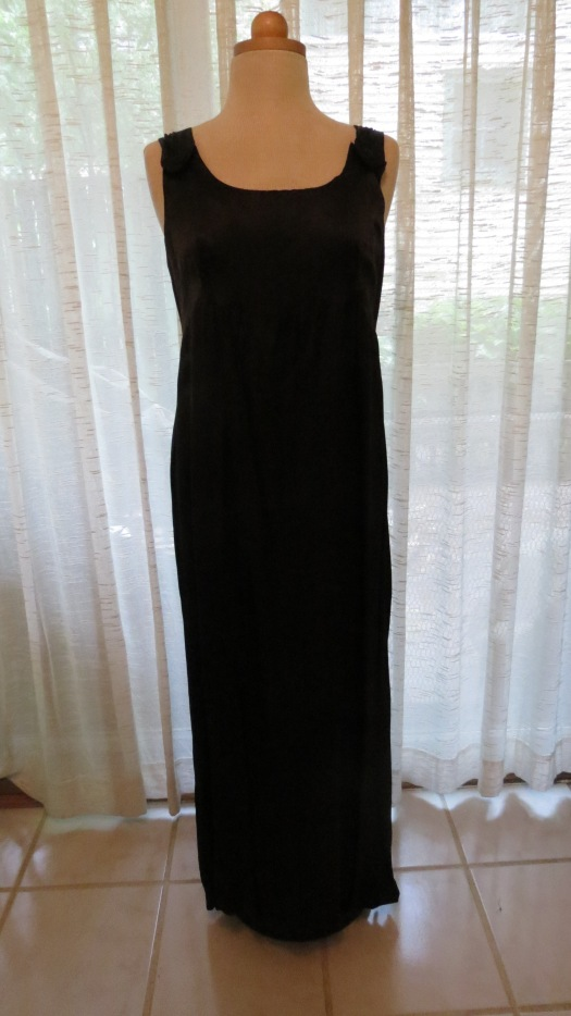NEW FIND!  TRUE VINTAGE BLACK SATIN EMPIRE - STYLE GOWN FROM THE SIXTIES