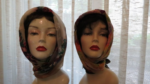 TRUE VINTAGE HEADSCARVES TIED IN THE KELLY WRAP STYLE - EARLY 1950'S