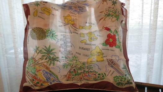 MY FAVORITE SILK SOUVENIR SCARF - FROM HAWAII, 1950'S