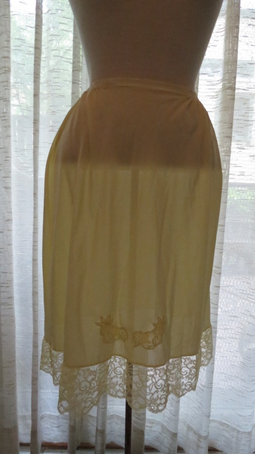 NEW FIND!  LEMON YELLOW TRUE VINTAGE 1950'S LINGERIE NYLON HALF-SLIP