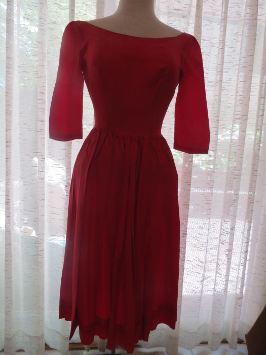 TRUE VINTAGE 1950'S RED TAFFETA GOWN WITH A CIRCLE SKIRT