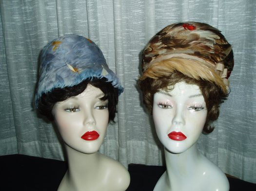 TRUE VINTAGE MID - 1960'S WOMEN'S SPRING HATS, COMPLETELY COVERED IN FEATHERS!