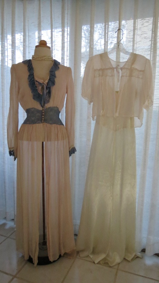 TWO LOVELY TRUE VINTAGE DRESSING GOWNS FROM THE 1930'S - 1940'S